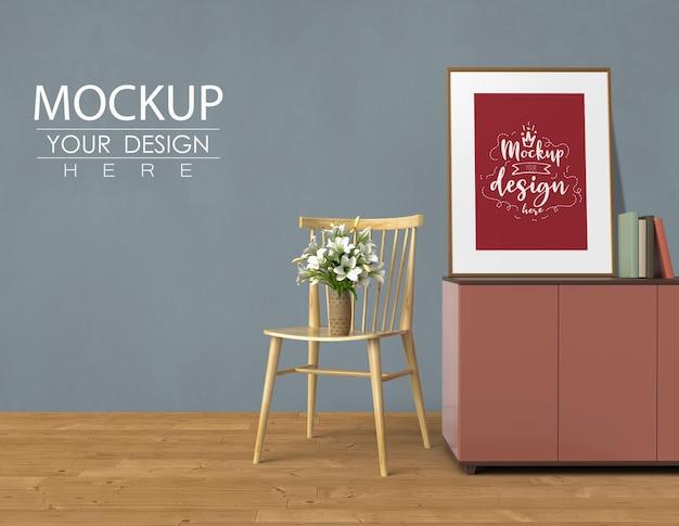 Parede vazia e moldura simulada com decoração para casa no interior moderno da sala de estar. maquete pronta para usar