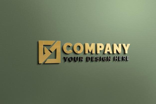Parede verde com modelo de logotipo de reflexão