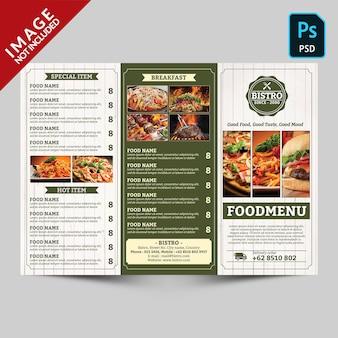 Parte dianteira da promoção do menu do restaurante dobrável em três partes do vintage