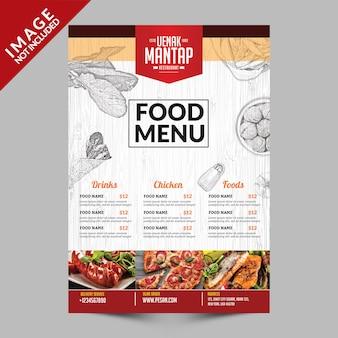 Parte frontal do livro de menu de comida vintage
