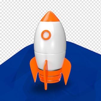 Parte superior de foguete laranja 3d para composição