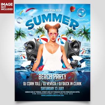 Partido da praia do verão modelo de panfleto