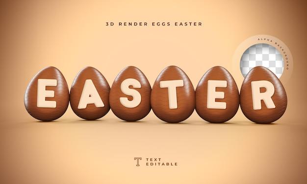 Páscoa 3d render em formato de ovo
