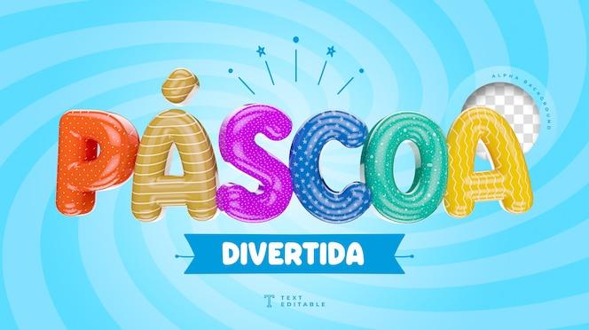 Páscoa divertida no brasil colorido 3d render