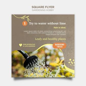 Passatempo de jardinagem panfleto quadrado