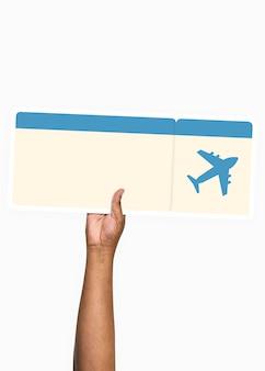 Passe segurar, um, passagem vôo