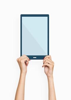 Passe segurar, um, tablete digital