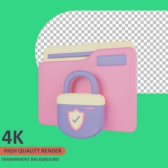Pasta 3d cyber icon ilustração renderização de alta qualidade
