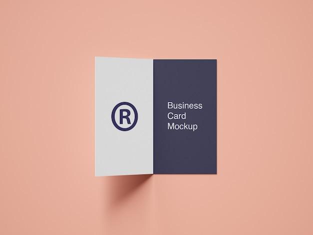 Pasta cartão de visita maquete vista de ângulo superior