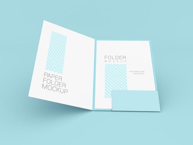 Pasta de apresentação com maquete de papel a4