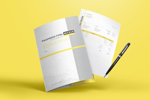 Pasta voadora para documentos com folha a4 e maquete de caneta