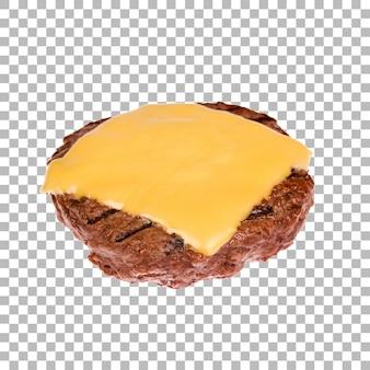 Patty isolada com queijo fatiado