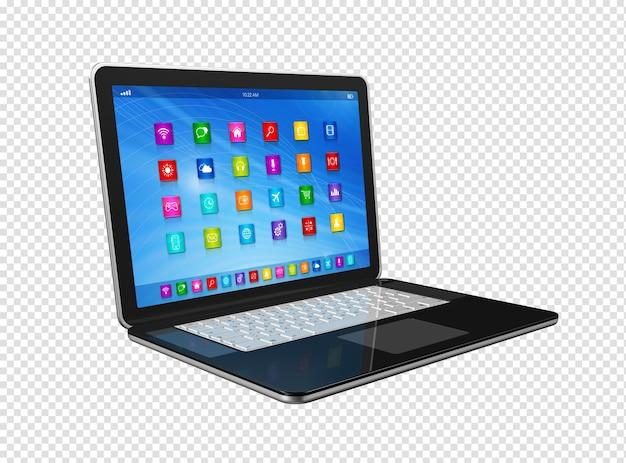 Pc digital 3d com interface de ícones de aplicativos isolada