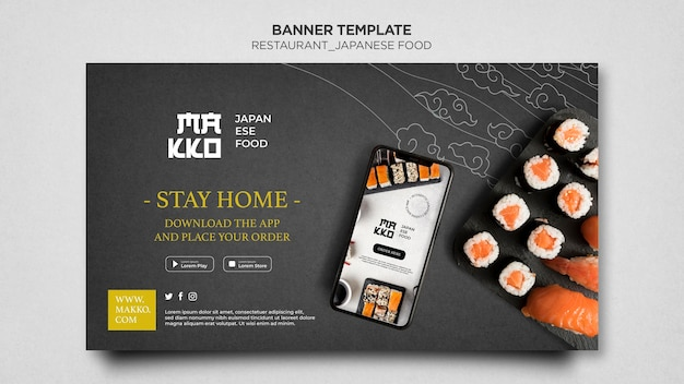 Peça sushi do modelo de banner inicial da web