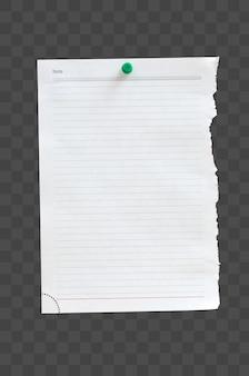 Pedaço de papel em branco preso em um quadro de cortiça