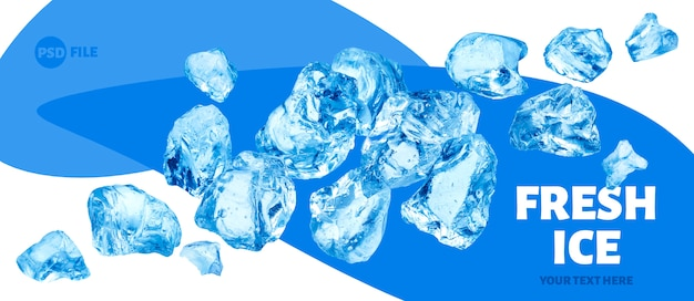 Pedaços de gelo caindo, monte de gelo picado