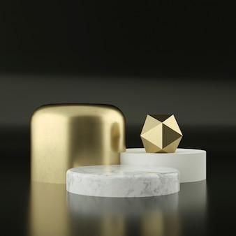 Pedestais de mármore com ornamentos de ouro