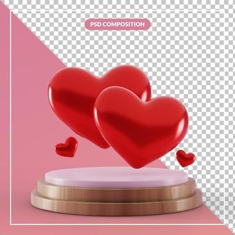Pedestal 3d com casal ama o símbolo do coração em renderização 3d