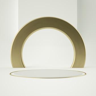 Pedestal de produto de ouro branco limpo, moldura de ouro, placa memorial, conceito mínimo abstrato, espaço em branco, design limpo, luxo. renderização em 3d