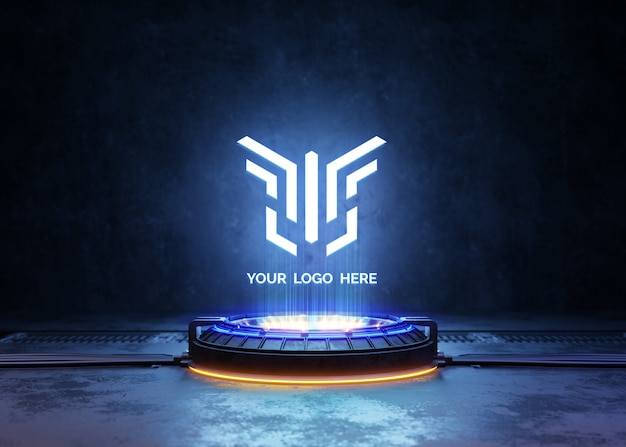 Pedestal futurista com maquete de logotipo