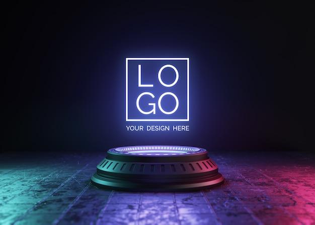 Pedestal futurista para maquete de logotipo