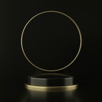 Pedestal preto com círculo flutuante dourado