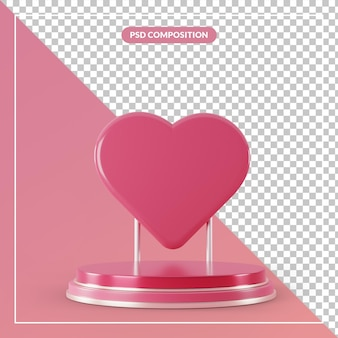 Pedestal rosa 3d com símbolo de sinal de amor em renderização 3d