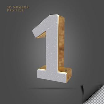 Pedra de renderização 3d número 1 com dourado