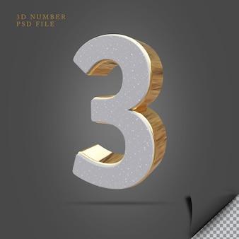 Pedra de renderização 3d número 3 com dourado