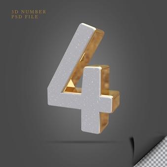 Pedra de renderização 3d número 4 com dourado