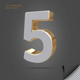 Pedra de renderização 3d número 5 com ouro