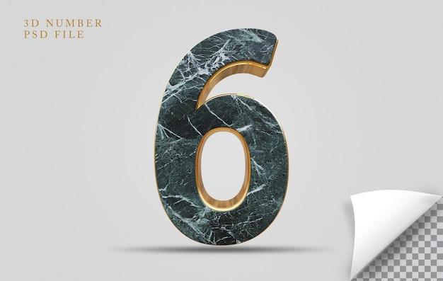 Pedra de textura de renderização 3d número 6 com dourado