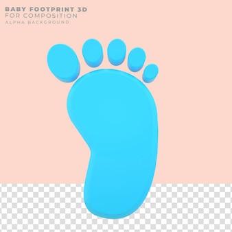 Pegada de bebê com renderização em 3d