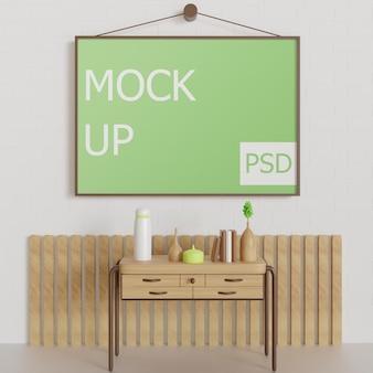 Pendurar maquete de moldura de paisagem na parede com mesa de móveis