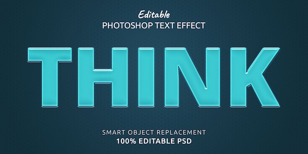 Pense no efeito de estilo de texto editável do photoshop