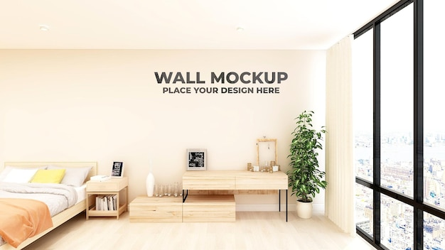 Penteadeira moderna em maquete de parede do quarto