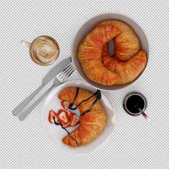 Pequeno-almoço isométrico 3d isolado
