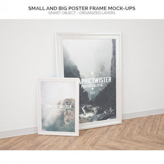 Pequeno e grande quadro de cartaz mock-ups