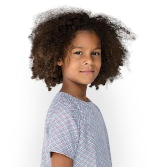 Pequeno, menina, confiança, auto estima, estúdio, retrato