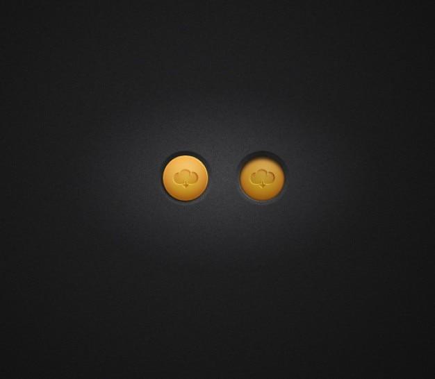 Pequenos botões de download com laranja nuvem
