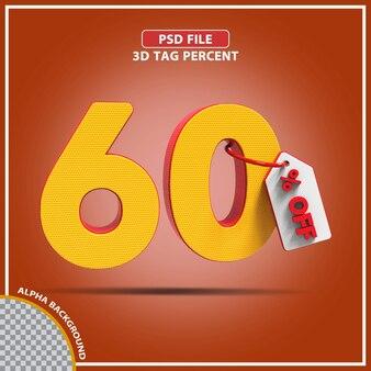 Percentagens 3d 60 por cento oferecem design criativo