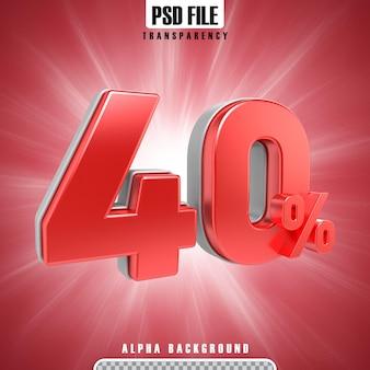 Percentagens 3d vermelho 40 por cento
