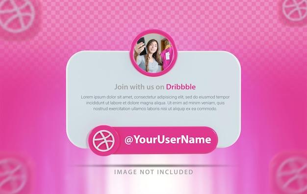 Perfil de banner com ícone dribbble 3d rende
