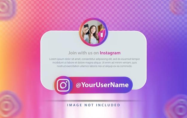 Perfil de banner com renderização 3d do ícone do instagram