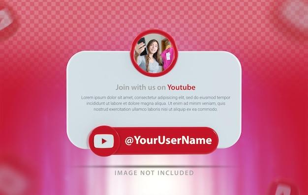 Perfil de banner com renderização 3d do ícone do youtube