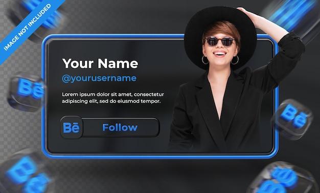 Perfil de ícone de banner na etiqueta de renderização 3d do behance isolado