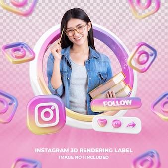 Perfil de ícone de banner na etiqueta de renderização 3d do instagram isolada
