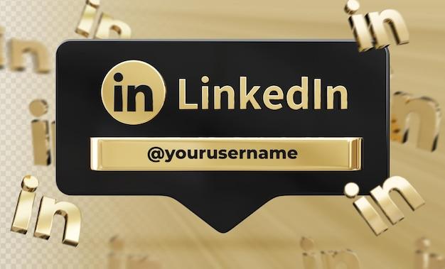 Perfil de ícone de banner na etiqueta de renderização 3d do linkedin isolado
