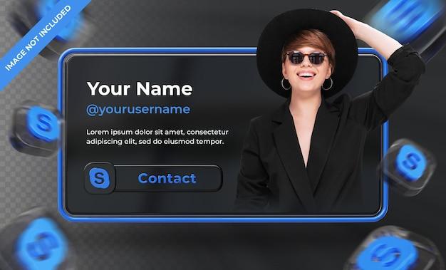 Perfil de ícone de banner na etiqueta de renderização 3d do skype isolada
