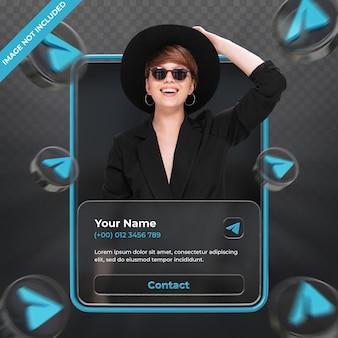 Perfil de ícone de banner na etiqueta de renderização 3d do telegrama isolada